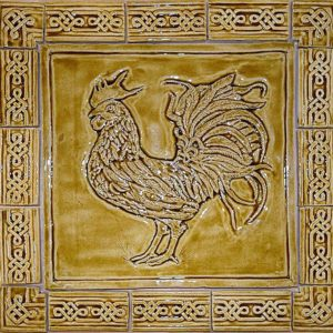 Country style cockerel ceramic backsplash tile with knot border.