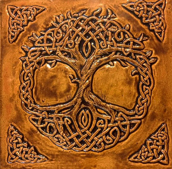 Celtic tree of life ceramic backsplash from Ireland.
