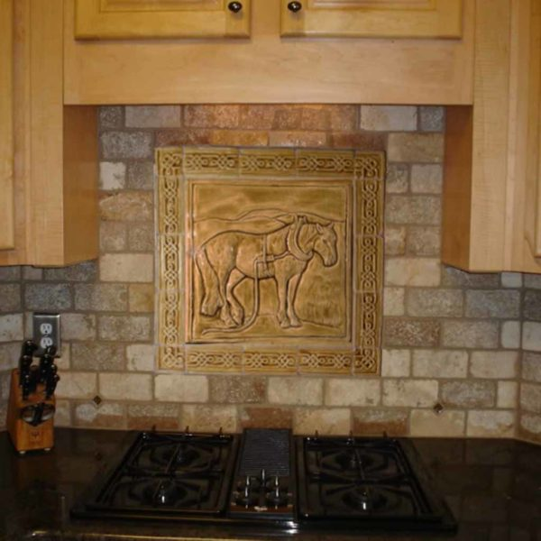 Country plough Horse ceramic backsplash tile with knot border.