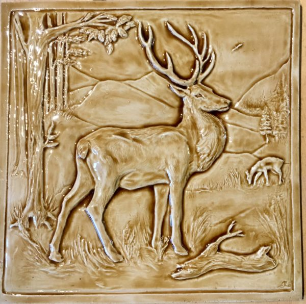 "12"" Kitchen Backsplash tile with Stag design in caramel glaze"